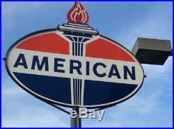 AMERICAN PORCELAIN STANDARD OIL & Gasoline Flame Vintage Sign