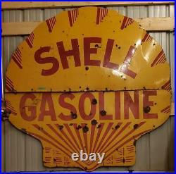Antique 6ft two piece porcelain shell sign