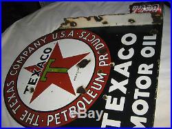Antique Dbl Sided Texas Star Texaco Oil Gas Petroleum Porcelain Station Sign USA