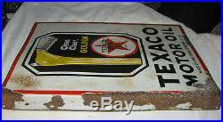 Antique Dbl Texas Texaco Motor Gas Oil Porcelain Art Advertising Display Sign