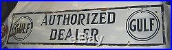 Antique Gulf Authorized Dealer Station Oil Gas Porcelain Art Advertising Sign Lg