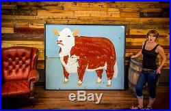 Antique Porcelain Cow Farm Dairy Beef Agricultural huge sign RARE 1930's