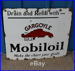 Antique Porcelain Mobil Oil Gargoyle Advertising Sign