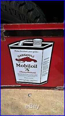 Antique Porcelain Mobil Oil Gargoyle Advertising Sign RARE clean