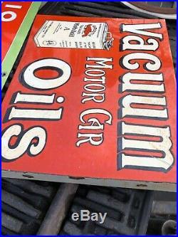 Antique Porcelain Mobil Oil Gargoyle Flange Advertising Sign RARE 1920s