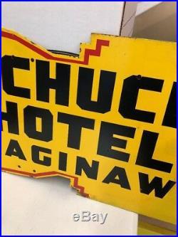 Antique Schuch Hotel Saginaw Die cut PORCELAIN SIGN Rare! Michigan Gas Oil