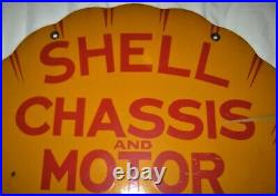 Antique USA Dbl Sided 1931 Shell Oil Gas Petroleum Motor Chassis Porcelain Sign