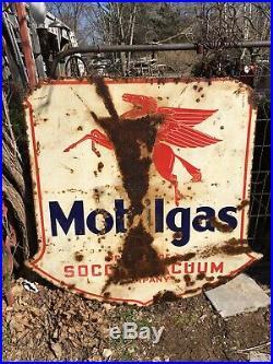 Antique Vintage Porcelain Mobil Oil Pegasus Garage Advertising Sign 47x45