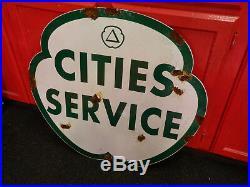 Antique style porcelain look Citi Service dealer service gas station large sign