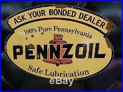 Antique style porcelain look Pennzoilo Z Service station gas pump dealer sign