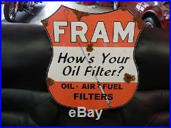 Antique style porcelain look large Fram filters service station dealer sign NICE