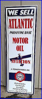 Atlantic Motor Oil Airplane Aviation VC Gas Oil Vintage Concepts Porcelain Sign