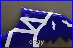 Blue Goodyear Tires Embossed Porcelain Foot Sign Gas Oil Car Farm