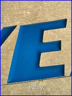 Brilliant Blue Goodyear Porcelain Letters Sign Wingfoot GORGEOUS