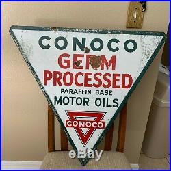 CONOCO GASOLINE porcelain sign vintage gas pump plate minute man service