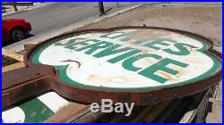 Cities Service Clover Porcelain Sign With Ring And Stand/pole Original