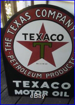 Collectable double sided ortginal porcelain Texaco Motor Oil flange