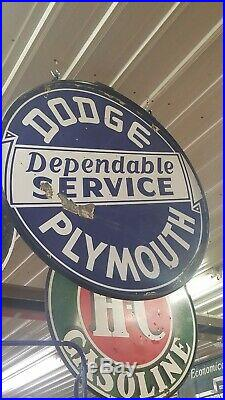 Dodge plymouth porcelain sign vintage Collectable Mancave gas oil