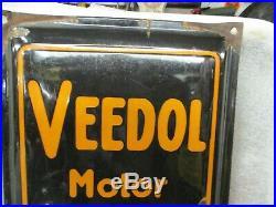 Early Original Veedol Oils Greases Porcelain Sign