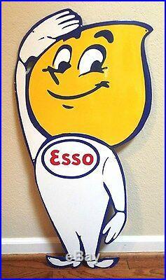 Esso Boy & Girl Oil Drop 36 Large Porcelain Display Sign Set Beautiful