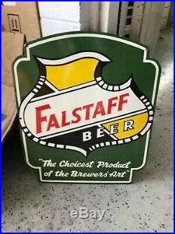 FALSTAFF BEER HEAVY PORCELAIN ADVERTISING SIGN, (24x 20) NEAR MINT CONDITION