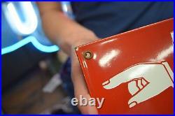 Fire Escape Porcelain sign with Pointing Arrow Finger Commercial Vintage