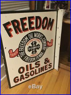 Freedom Oil And Gas Porcelain Flange Sign