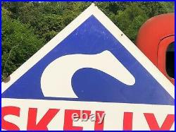 GUARANTEED ORIGINAL Vintage 7' SKELLY Gas OIL Sign PORCELAIN Garage Mancave OLD