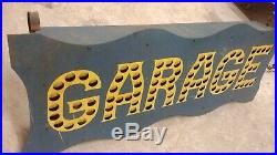 Garage tin punched sign lighted pre neon painted not porcelain