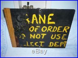 Great original porcelain sign STOP MEN AT WORK bethlehem steel pa see reverse