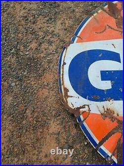 Gulf Gas Porcelain Sign 6' 1 high x 6 ft 6 wide