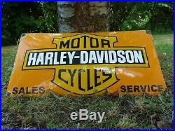 HARLEY Porcelain Sign Vintage Motorcycle Advertising 23 Domed Collectible Biker