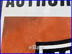 Harley Davidson Motorcycle Large Porcelain Sign Authorized Dealer Dated 1958
