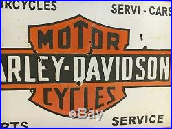 Harley Davidson Motorcycle Vintage Porcelain Sign Gas, Oil, Pegasus, 2Sided Flange
