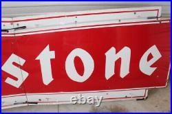 Huge 12' Vintage 1950s Firestone Tires Neon Lighted Porcelain Metal Gas Oil Sign