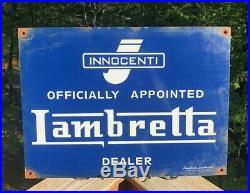 Innocenti Lambretta Dealer Porcelain Vintage Sign Italian Motor Scooter Milano