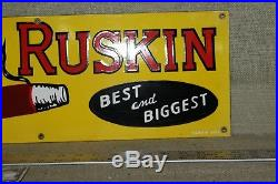 John Ruskin Porcelain Sign Oil Gas Service General Store Smoking Cigar Tobacco