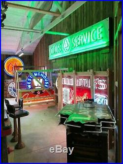 LARGE Vintage CITIES SERVICE Porcelain NEON Sign Gas Oil OLD Advertising WOW