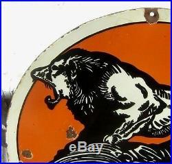 LION OILS SIGN. Gas station porcelain oil cat lyon gas