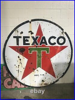 Large 72 Round Original Porcelain TEXACO GAS Sign Collectors Item