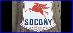 Large Double Sided SOCONY Pegasus Porcelain Sign 42 X 42