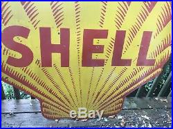 Large Double Sided Shell Porcelain Sign