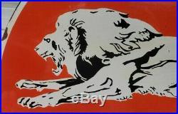 Large Lion Gasoline 30 Double Sided Porcelain Sign