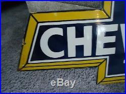 Large Original Chevrolet Bowtie Porcelain Enamel Sign Truck Make Offer