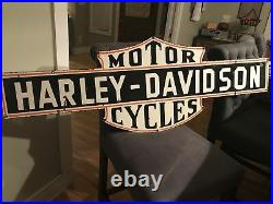 Large Original Harley Motor Cycles Double Sided Porcelain Sign