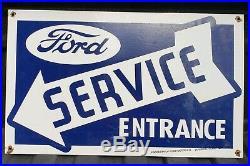 Large Vintage Ford Service Entrance Dealership Porcelain Sign