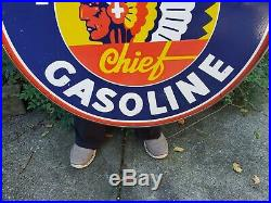 Large Vintage Idaho Chief Gasoline Porcelain Sign 30 Double Sided Indian