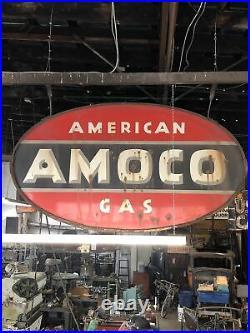 Large Vintage Porcelain Amoco Double Sided Sign 8ft Long