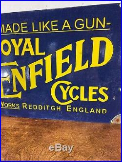 Large Vintage''royal Enfield'' Cycle Porcelain Advertizing Sign 16.5 X12 Inch