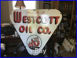 Large Westcott Oil Gas Double Sided Porcelain Sign